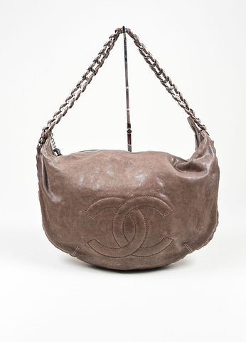 "Grey Taupe  Leather Chanel 'CC' Silver ""Modern Chain Hobo"" Bag Frontview"