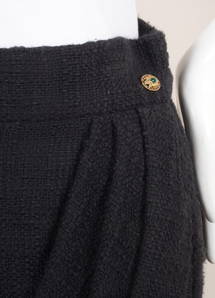 Chanel New With Tags Black Cotton Tweed Draped Pencil Skirt Detail