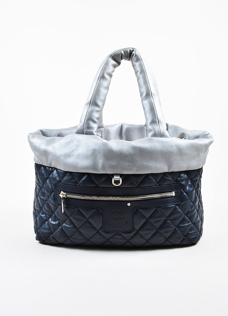 "Chanel Navy and Metallic Silver Lambskin Quilted ""Large Cocoon"" Reversible Tote Bag Reverse"