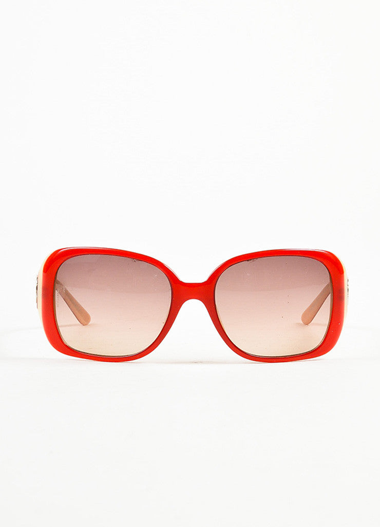 Chanel Red, Brown, and Cream Gradient Tint Mosaic 'CC' Detail Square Sunglasses Frontview