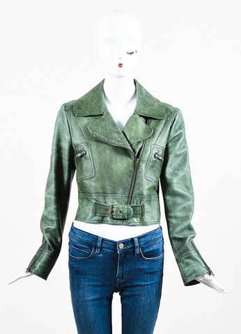 Hunter Green Chloe Distressed Leather Zip Up Crop Moto Jacket Front 2