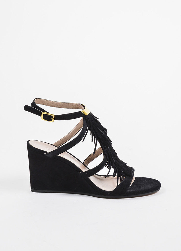 Black Suede Leather Tiered Fringe Strappy Wedge Sandals Sideview