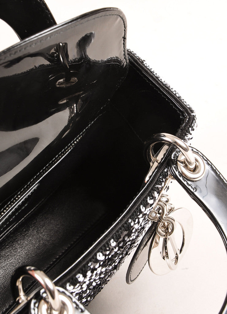"Christian Dior Black and White Sequin and Patent Leather Small ""Lady Dior"" Bag Interior"
