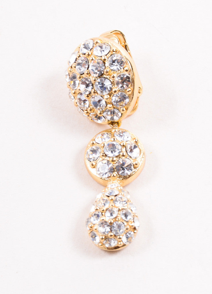 Christian Dior Gold Toned Pave Rhinestone Embellished Round Drop Earrings Detail