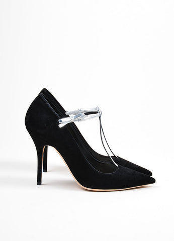"Black Suede Leather Metallic T-Strap Christian Dior ""Coquette"" Pumps Sideview"