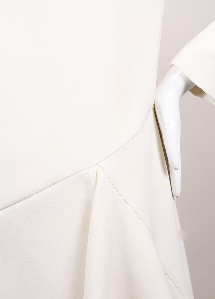 Christian Dior New With Tags Cream Crop Waist Stretch Wool Long Sleeve Flounce Dress Detail
