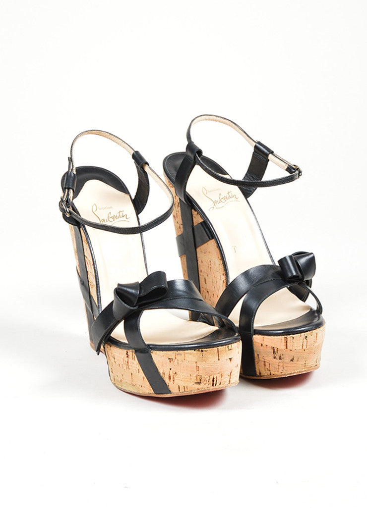 "Black Christian Louboutin Leather ""Miss Cristo 140"" Cork Wedge Sandals Frontview"