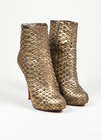"Gold Christian Louboutin Python Leather ""Feticha Booty 120"" Ankle Boots Frontview"