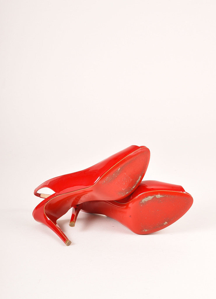 Christian Louboutin Red Patent Leather Peep Toe Slingback Pumps Outsoles