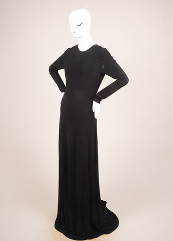Cushnie et Ochs Black Jersey Faux Pearl Trim Full Length Long Sleeve Gown Sideview