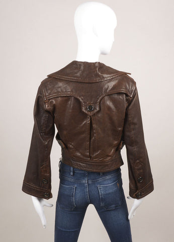 DSquared2 Brown Distressed Leather Cropped Moto Jacket Backview