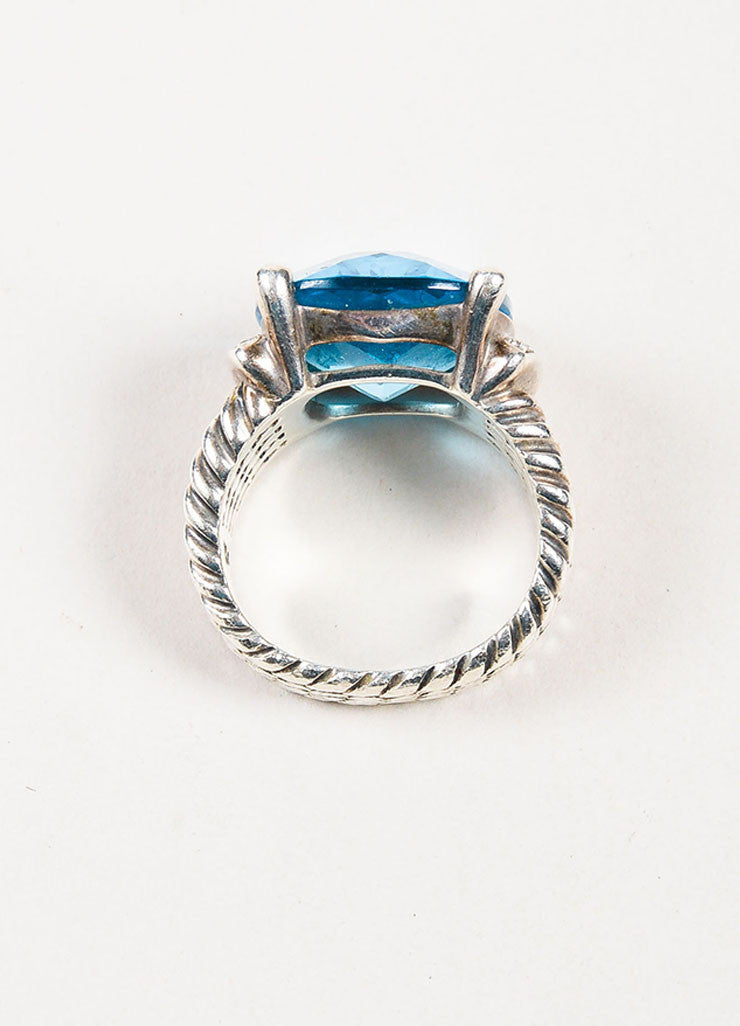 "Sterling Silver, Blue Topaz, and Pave Diamond David Yurman ""Wheaton"" Ring  topview"