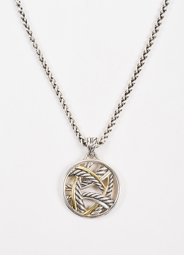 David Yurman Sterling Silver and 18K Yellow Gold Two Tone Cable Pendant Necklace Detail