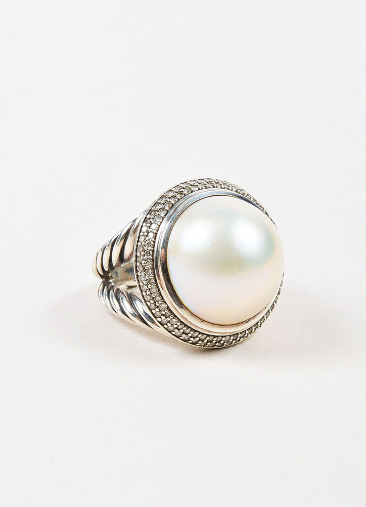 "David Yurman Sterling Silver, Pearl, and Pave Diamond ""Cerise"" Double Cable Ring Sideview"