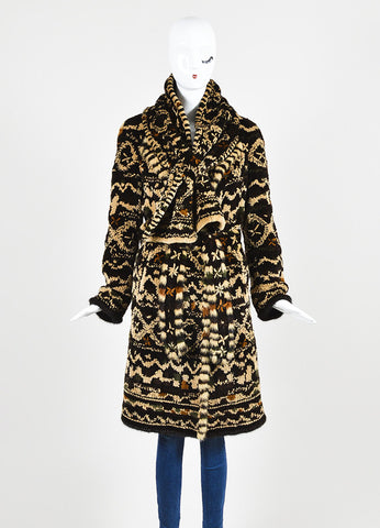 Dennis Basso Brown Multicolor Patterned Belted Fur Coat with Scarf Frontview 2