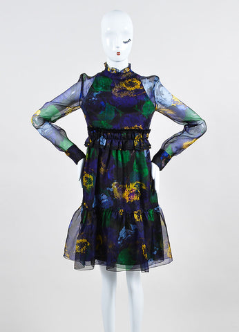 "Erdem ""Bancroft Purple"" Chiffon Overlay ""Devina"" Long Sleeve Dress Frontview"