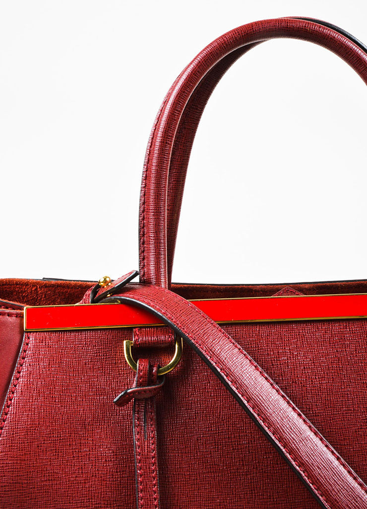 "Fendi Red Textured Leather Medium ""2Jours"" Removable Strap Frame Bag Detail 2"