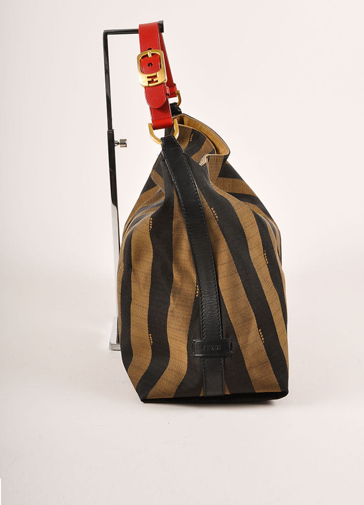 "Fendi Brown, Black, and Red Canvas Leather Trim Stripe ""Pequin"" Hobo Bag Sideview"