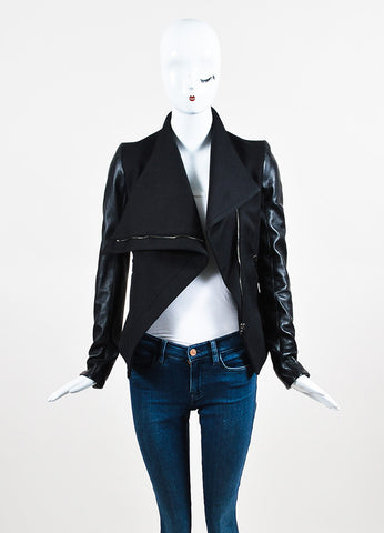Gareth Pugh Black Leather Sleeve Off Centered Zipper Draped Collar Jacket Frontview