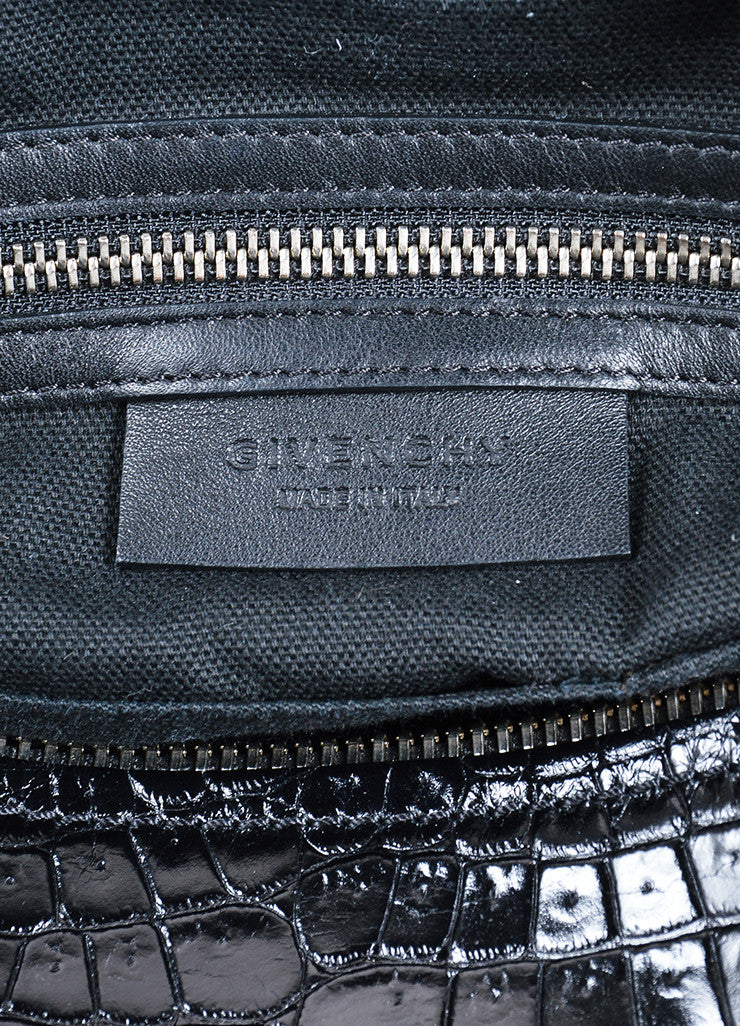 "Givenchy Black Crocodile Embossed Leather Suede ""Pandora"" Shoulder Bag Brand"