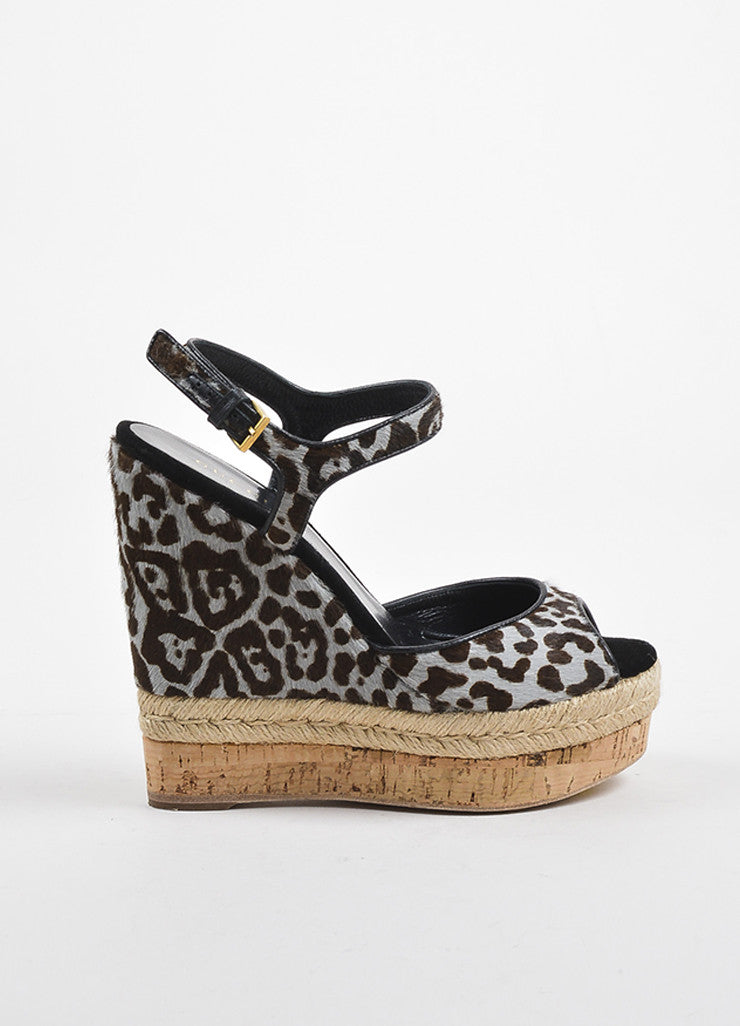 Blue-Grey and Brown Gucci Pony Hair Leopard Print Espadrille Wedges Side