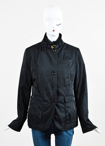 Gucci Black Nylon and Wool Ribbed Trim Double Zip Placket Jacket Frontview 2