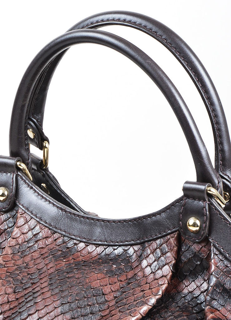 "Brown and Black Gucci Python Large ""Sukey"" Hobo Bag Detail 2"