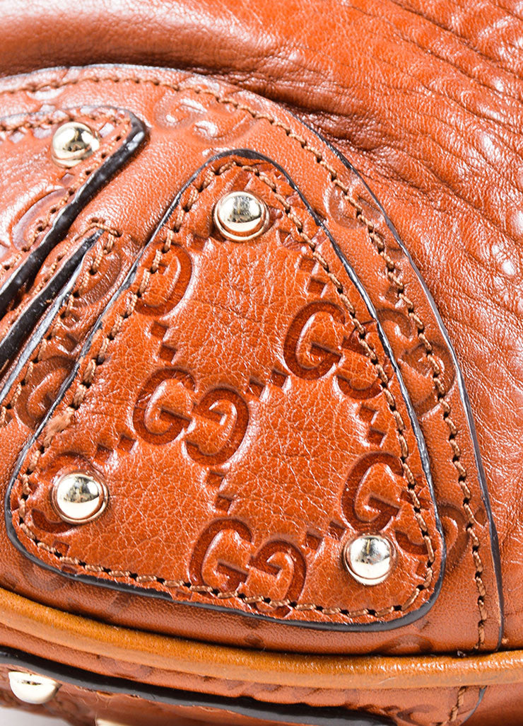 "Gucci Cognac Leather Logo Embossed Tassel ""Indy Hobo"" Bag Detail"