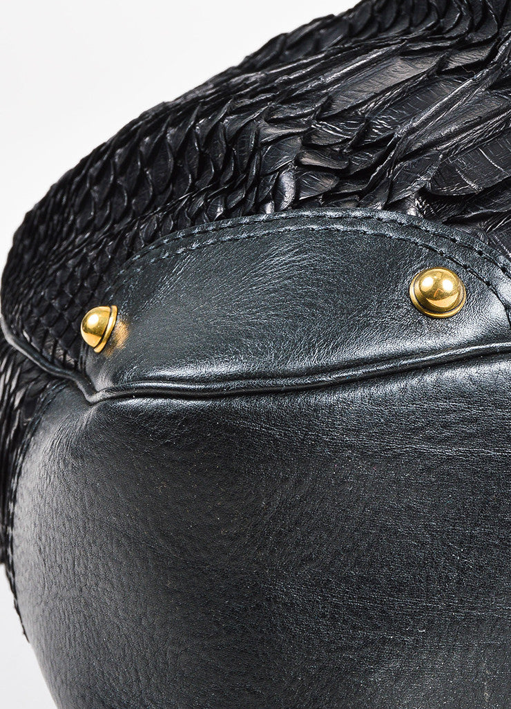 "Gucci Black Python Leather ""Large Jockey"" Hobo Bag Detail 3"