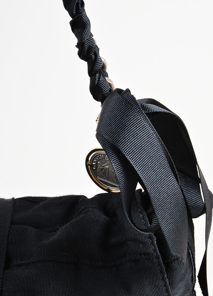 Gucci Black Chain Strap Ruched Shoulder Bag Detail 2