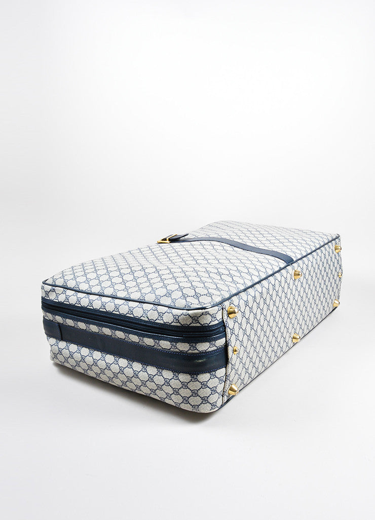 "Gucci Navy Blue and Cream Coated Canvas and Leather ""GG"" Monogram Large Luggage Bottom View"