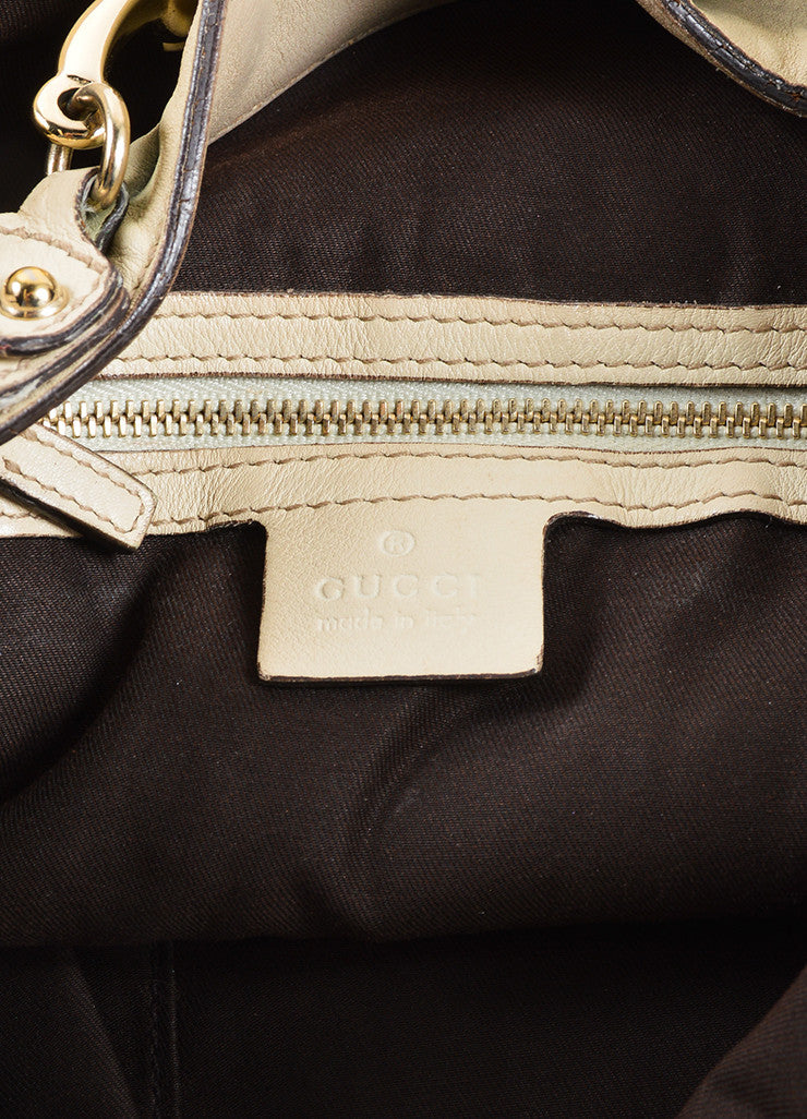 "Gucci Beige Monogram Canvas and Leather Horsebit ""Catena"" Hobo Bag Brand"