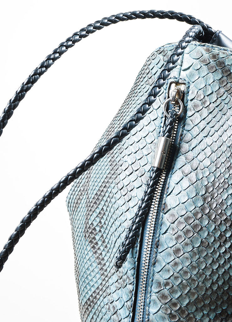 Men's Teal and Black Gucci Python Leather Braid Drawstring Oversized Backpack Detail 2