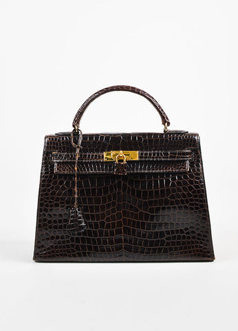 "Hermes Brown and Gold Toned Porosus Shiny Crocodile ""Kelly 32"" Handbag Frontview"