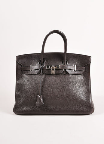"Hermes Chocolate Brown and Silver Toned Palladium Clemence Leather 35cm ""Birkin"" Bag Frontview"