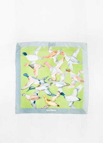 "Hermes Grey and Green ""Sauvagine En Vol"" Flying Duck Print Square Scarf Frontview 2"