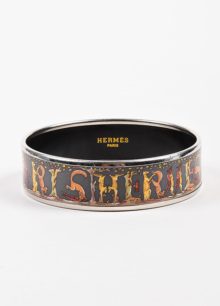 Hermes Grey and Multicolor Enamel and Palladium Plated Animal 'Hermes' Print Bangle Frontview