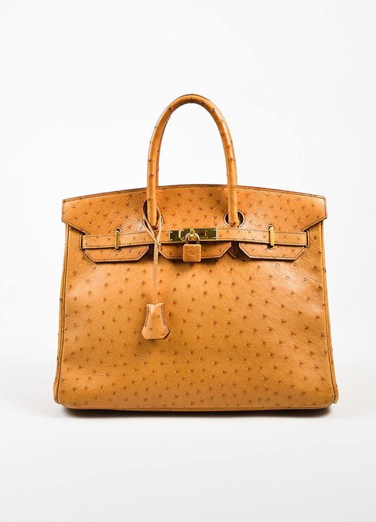 "Hermes ""Saffron"" Orange Tan Ostrich Leather 35cm ""Birkin"" Handbag Frontview"