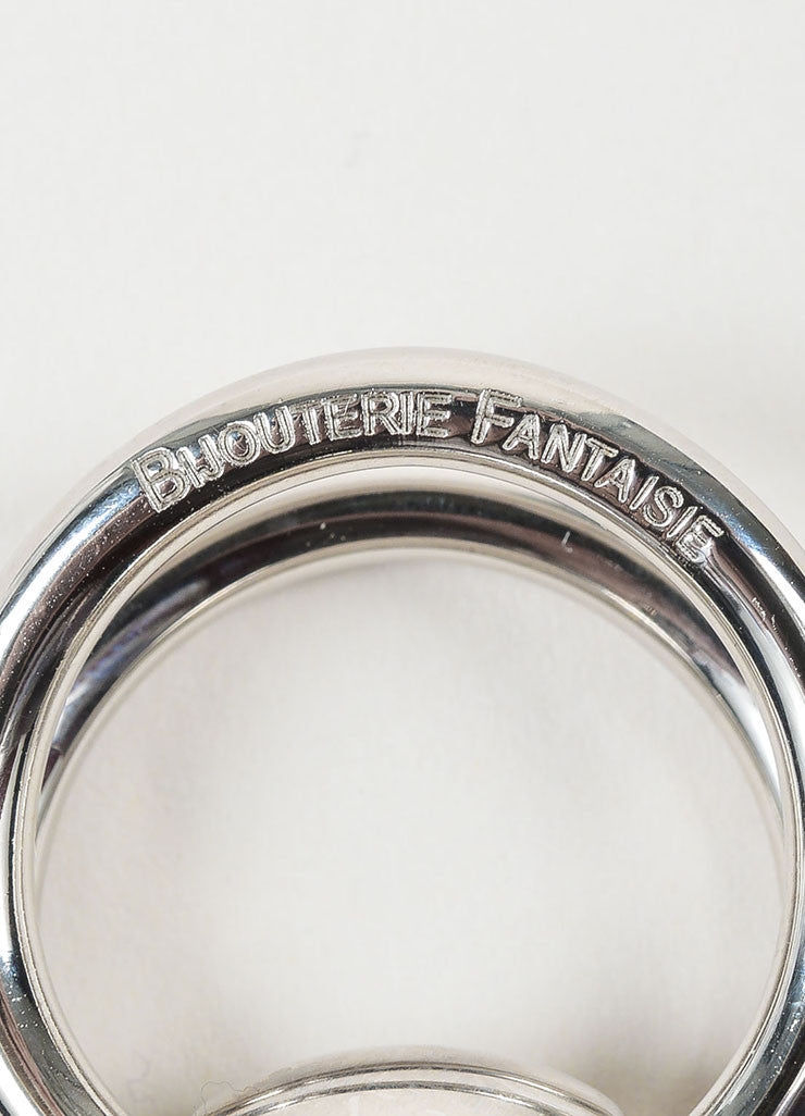 "Silver Toned Hermes Palladium Plated ""Bijouterie Fantaisie"" Horsebit Scarf Ring Brand 2"
