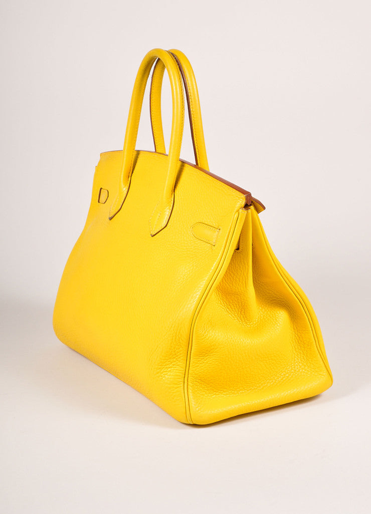 Hermes Yellow and Gold Toned Pebbled Togo Leather 35cm Birkin Bag Sideview