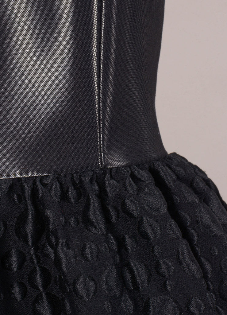 Honor New With Tags Black Liquid Textured Sleeveless Bell Dress Detail