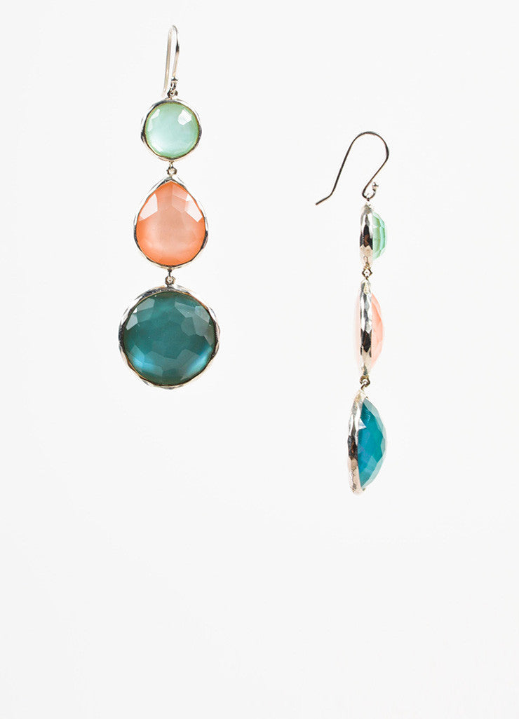 Ippolita Sterling Silver Peach Blue Quartz Mother Of Pearl Stone Drop Earrings Sideview