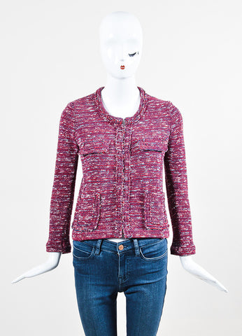 Isabel Marant Etoile Red, Navy, and White Knit Four Pocket Jacket Frontview 2