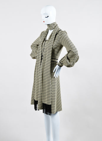 Cream and Black J. Mendel Knot Jacquard Long Sleeve Shirt Dress with Scarf Sideview