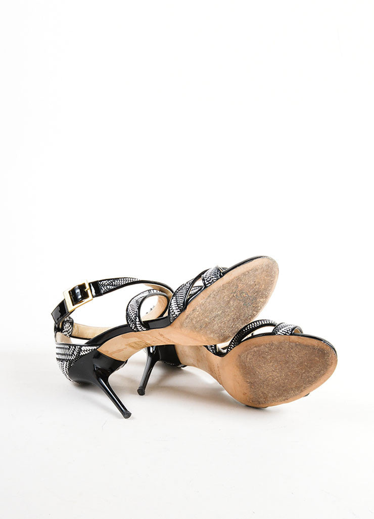 Black and White Jimmy Choo Woven Patent Leather Trim Strappy Sandal Heels Outsoles
