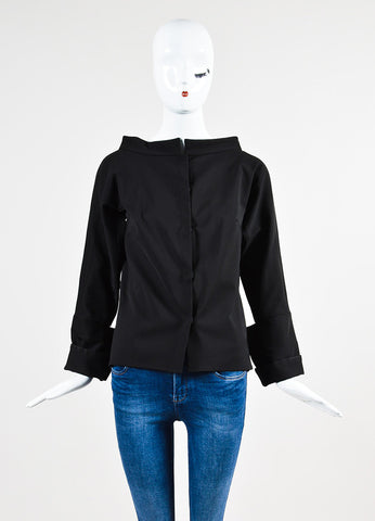 Karolina Zmarlak Black Cotton Wide Neck Structured Snap Jacket Frontview 2