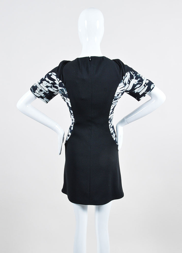 Black and White Kenzo Abstract Splatter Print Short Sleeve Fit and Flare Dress Backview
