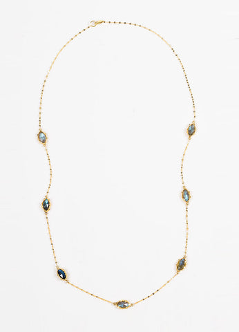"Lana 14K Yellow Gold and Labradorite ""Possessed Gypsy"" Station Necklace Frontview"