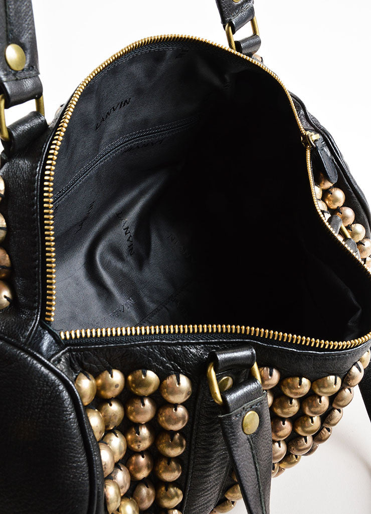 Lanvin Black and Gold Toned Distressed Studded Leather Barrel Bag Interior