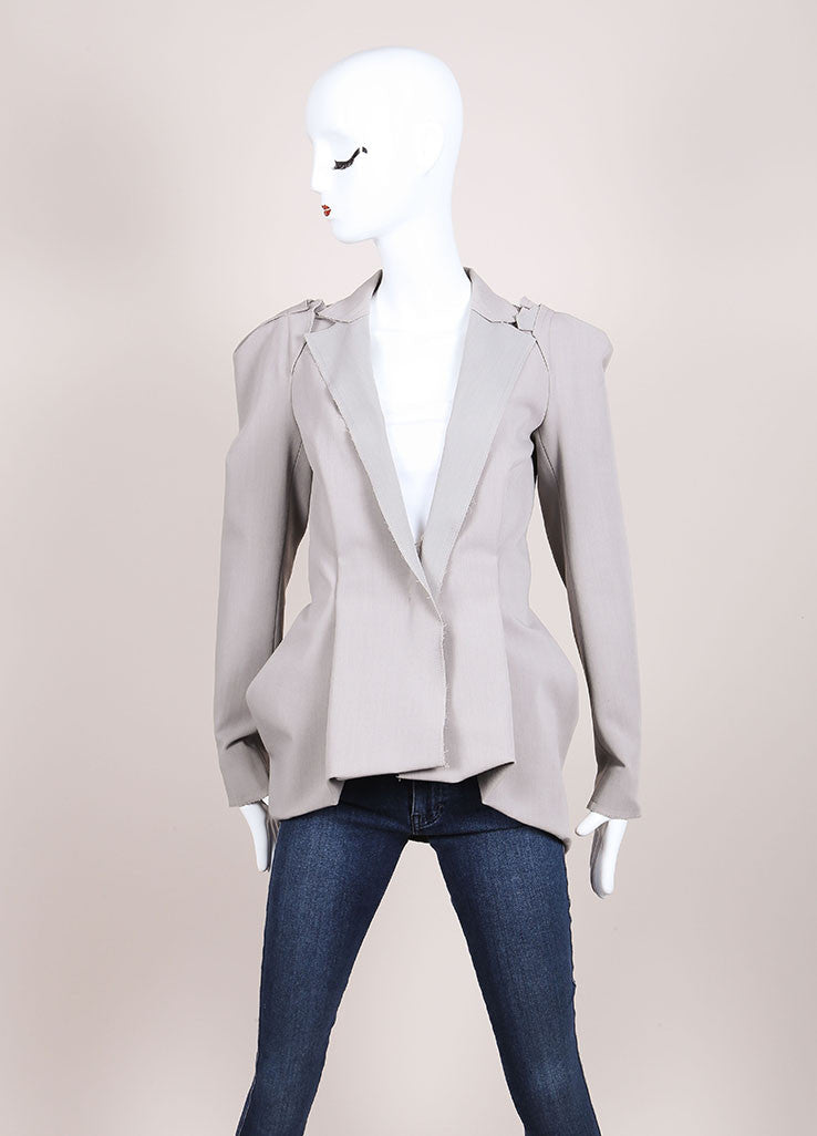 Lanvin New With Tags Grey Wool Blend Draped Long Sleeve Blazer Jacket Frontview